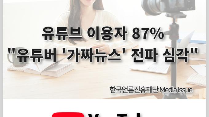 """[카드뉴스]유튜브 이용자 87 """"유튜버 '가짜뉴스' 전파 심각"""""""
